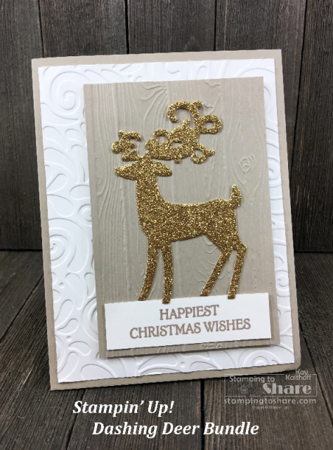 Stampin' Up! Dashing Deer Bundle Christmas Card created by Kay Kalthoff for a Make It Monday FB Live #stampingtoshare