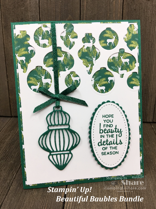 Stampin' Up! Beautiful Baubles Bundle with Under the Mistletoe Designer Series Paper created by Kay Kalthoff for a Fab Friday FB Live at #stampingtoshare