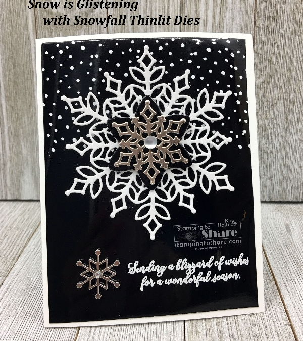 Black & White Stampin' Up! Snow is Glistening Card with FREE PDF