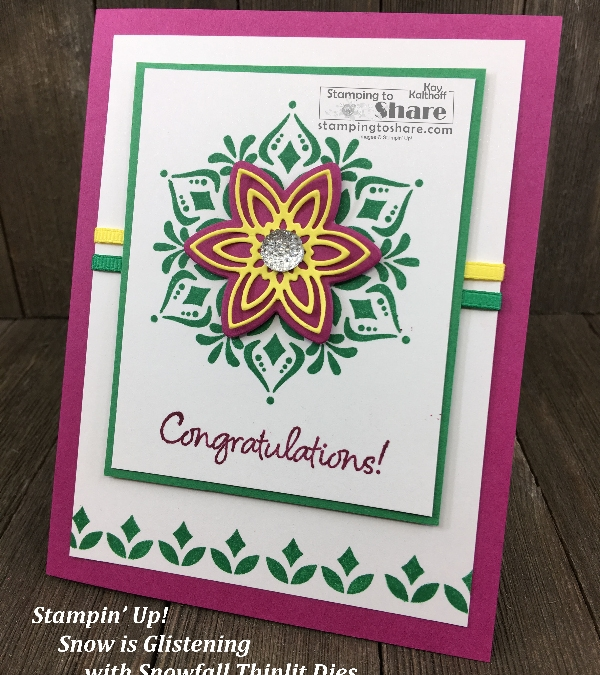 Happiness Surrounds with Snowfall Thinlits for a Darling Congratulations Card!