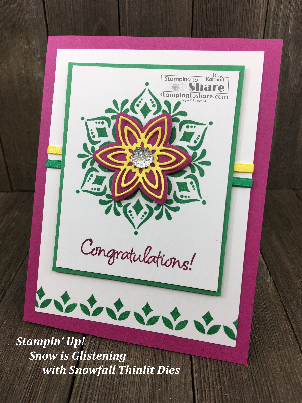 Stampin' Up! Happiness Surround with Snowfall Thinlits Congratulations card created by Kay Kalthoff for #stampingtoshare