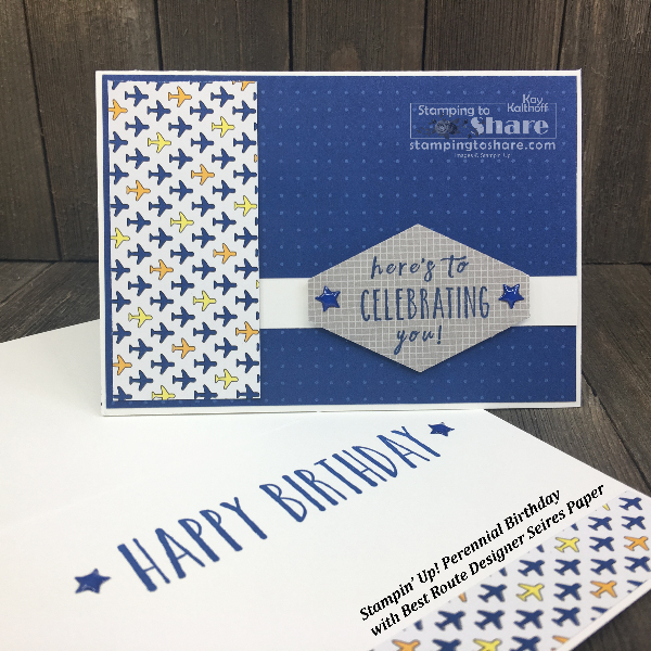 Learn how to make simple, masculine cards with Stampin' Up! Perennial Birthday as created by Kay Kalthoff for #stampingtoshare #simplestamping
