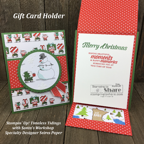 How to Make a Cute Gift Card Holder with Santa's Workshop DSP Plus some Simple Stamping!