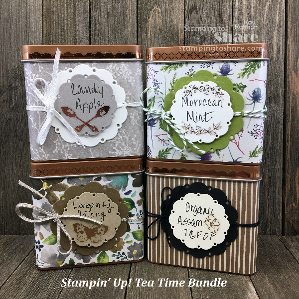 Stampin' Up! Copper Tins with Spot of Tea Framelits for Stamp and Chat with Kay Kalthoff on #stampingtoshare