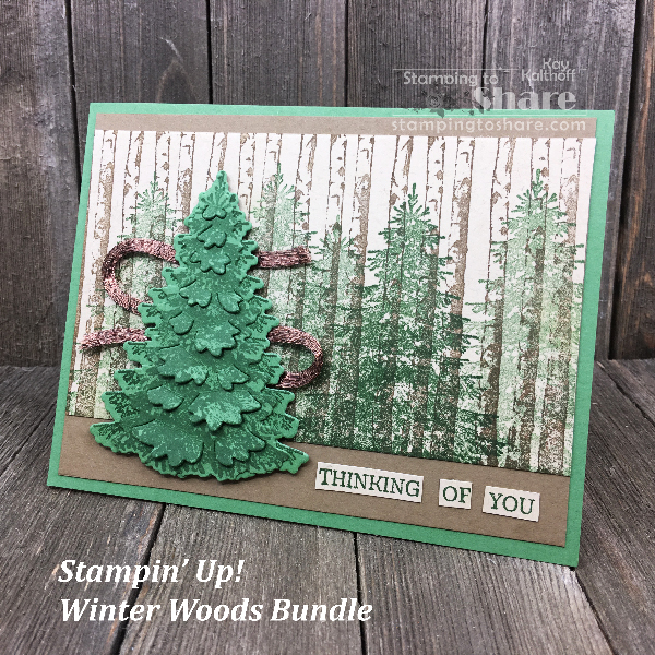 Masculine Thinking of You Card with Stampin' up! Winter Woods Bundle created by Kay Kalthoff with #stampingtoshare