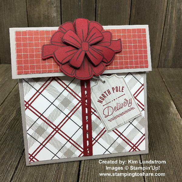 Gift Card Holder Created by Kim Lundstrom for Stamping to Share Demo Meeting Swap using Stampin' Up! Bring on the Presents #stampingtoshare