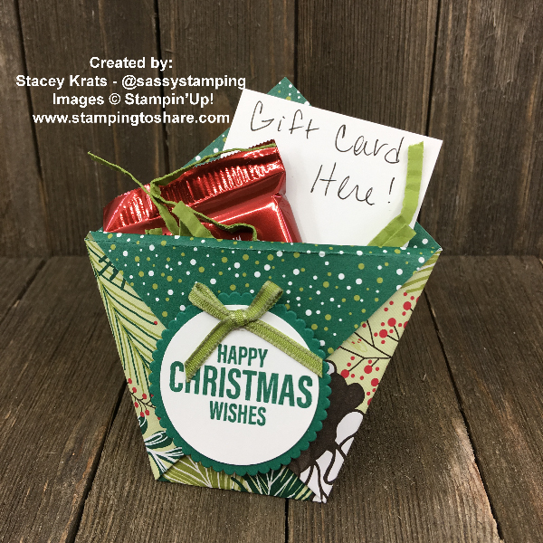 Gift Card Holder Diaper Fold Created by Stacey Krats for Stamping to Share Demo Meeting Swap using Stampin' Up! Under the MIstletoe Designer Series Paper #stampingtoshare