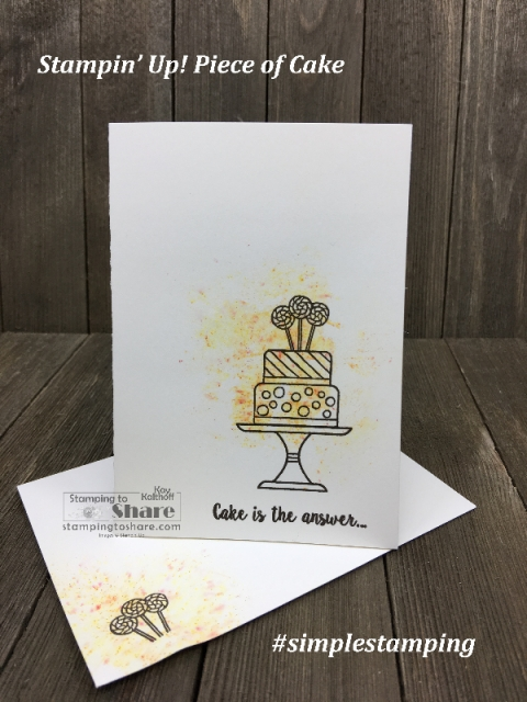 Stampin' Up! Piece of Cake with Brusho created by Kay Kalthoff for #stampingtoshare #simplestamping