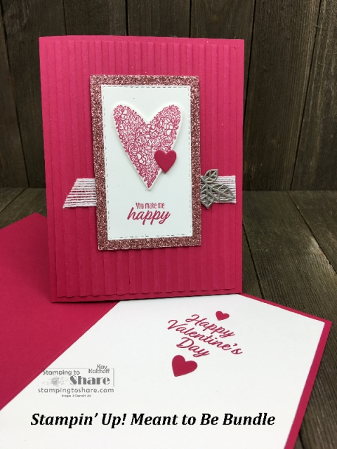 Stampin' Up! Meant to Be Bundle Valentine Card with Rectangle Stitched Framelits Dies and Corrugated Embossing Folder by Kay Kalthoff for #stampingtoshare #valentines