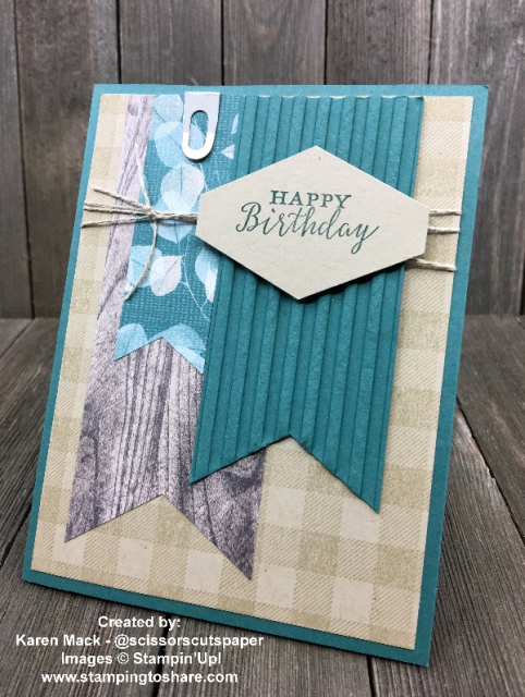 Stampin' Up! Detailed with Love Birthday paired with the Buffalo Check background created by Karen Mack for Demo Meeting Swap #stampingtoshare