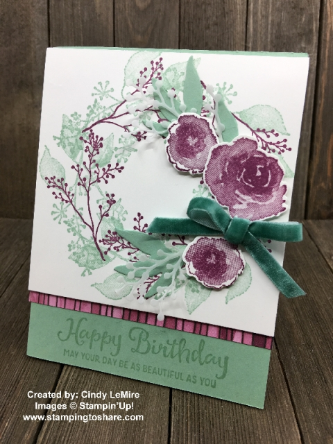 First Frost Birthday Wreath card by Cindy LeMire for Demo Meeting Swap #stampingtoshare