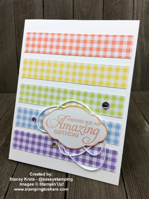 Gingham Gala 6x6 DSP with Humming Along created by Stacey Krats for Demo Meeting Swap #stampingtoshare