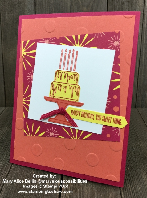 Stampin' Up! Piece of Cake card created by Mary Alice Bellis for Demo Meeting Swap #stampingtoshare