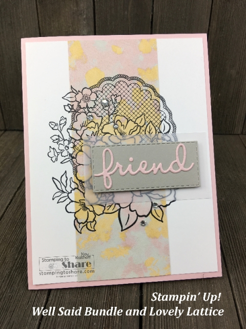 Stampin' Up! Lovely Lattice using Well Written Framelits and the Stamparatus by Kay Kalthoff for #stampingtoshare