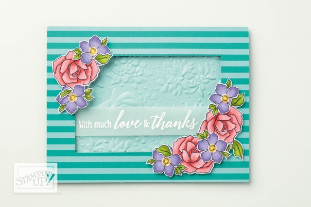 Stampin' Up! Floral Embossing Folder with Tea Together Flowers and Tropical Chic Sentiment #stampingtoshare