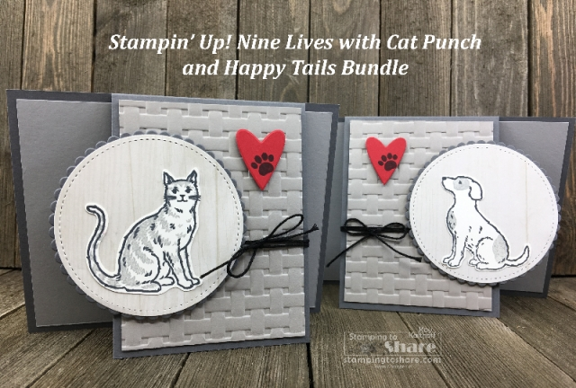 Stampin' Up! Happy Tails Bundle and Nine Lives with Cat Punch created by Kay Kalthoff for #stampingtoshare