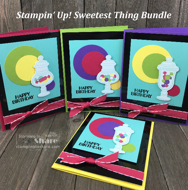 Stampin' Up! Sweetest Thing Bundle Cards in an array of colors created by Kay Kalthoff for #stampingtoshare