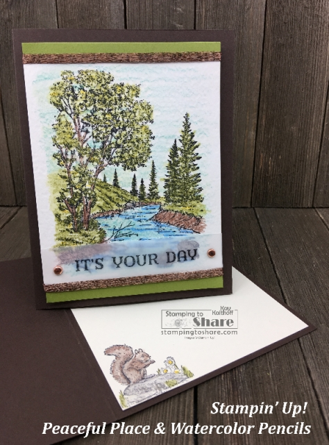 Stampin' Up! Peaceful Place with Watercolor Pencils Kay Kalthoff #stampingtoshare