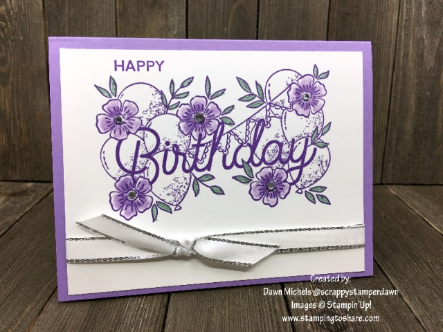 Stampin' Up! Birthday Statements created by Dawn Michels for April Demo Meeting Swap for #stampingtoshare