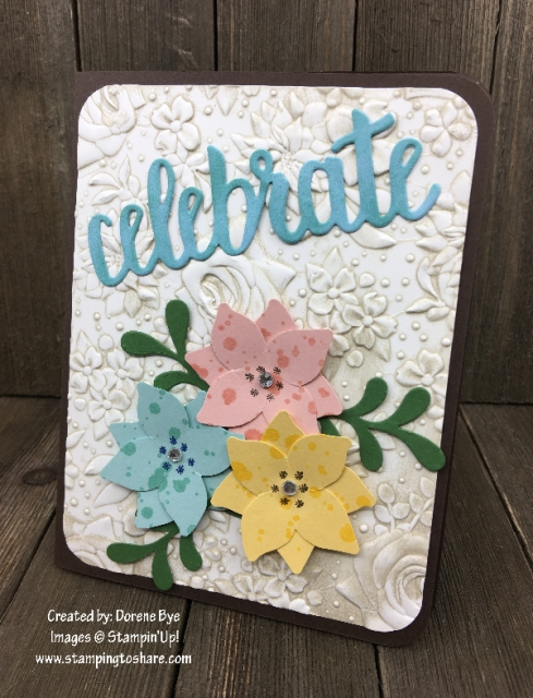 Created by Dorene Bye with Stampin' Up! Four Petal Punch and Celebrate You Dies for April Demo Meeting Swap for #stampingtoshare