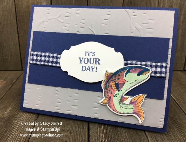Stampin' Up! Story Label Punch and Best Catch Bundle created by Stacy Barrett for Demo Meetings Swaps for #stampingtoshare
