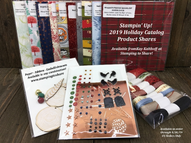 Stampin' Up! 2019 Holiday Catalog Paper Shares. Embellishment Shares and Ribbon Shares, too! From #stampingtoshare
